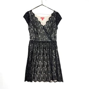 Elle Black Lace Shimmer Dress with Cap Sleeves